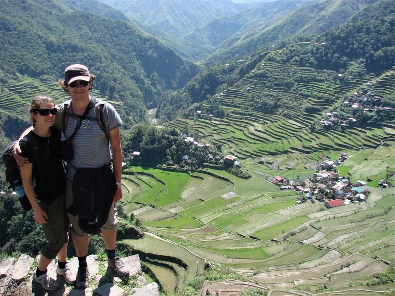 Our reward after a strenuous climb: the famous Batad rice terraces on Luzon!