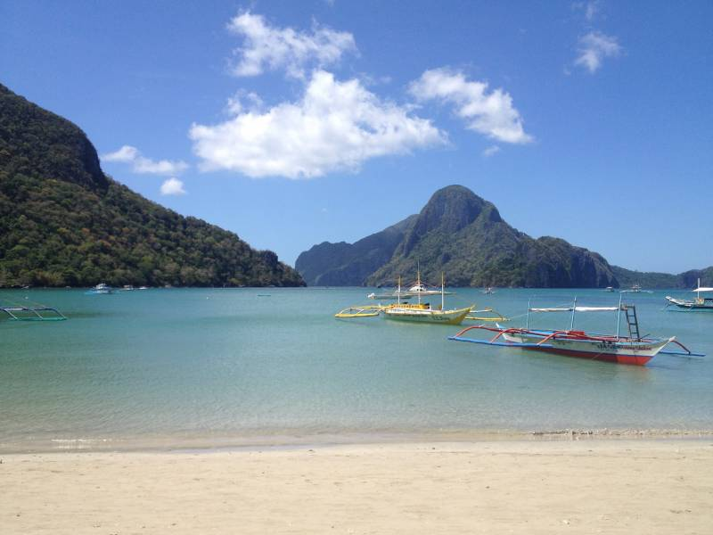 View from the beach of El Nido