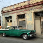Cuba classic car old building
