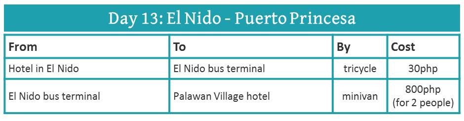 how to travel from El Nido to Puerto Princesa (by minivan)
