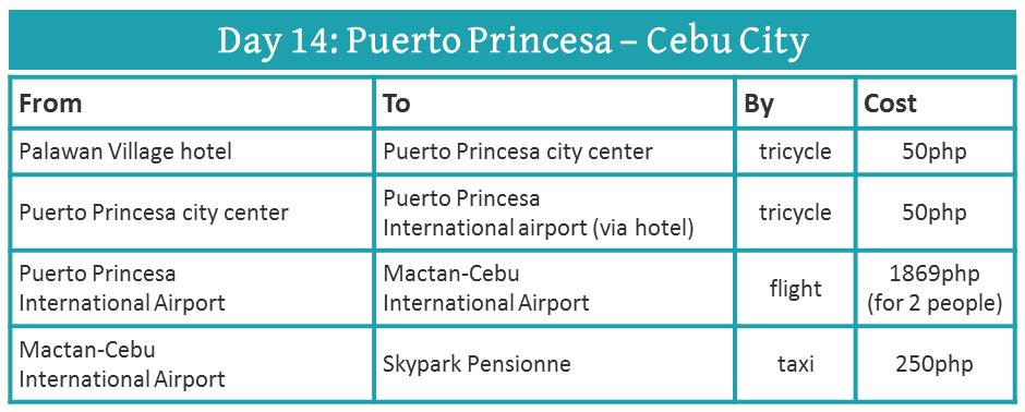how to travel from Palawan to Cebu