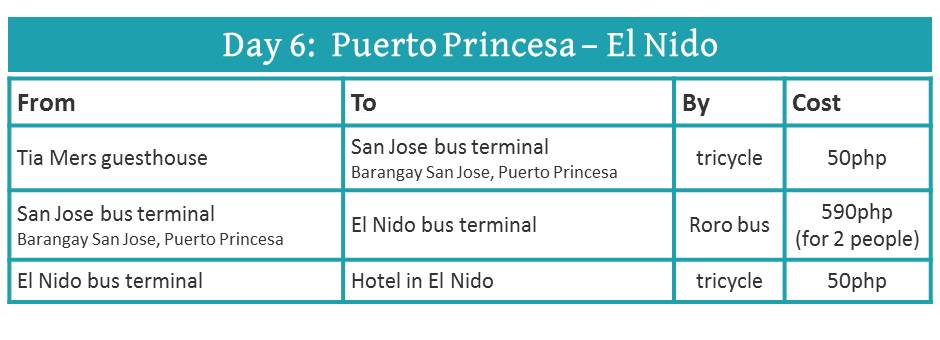how to travel from Puerto Princesa to El Nido (by bus)