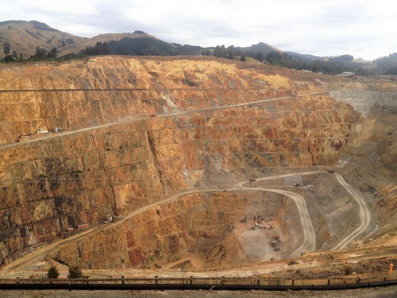 The massive Waihi goldmine on the Coromandel Peninsula in New Zealand
