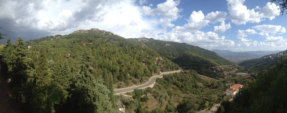 Panorama of mountain road on Sardinia