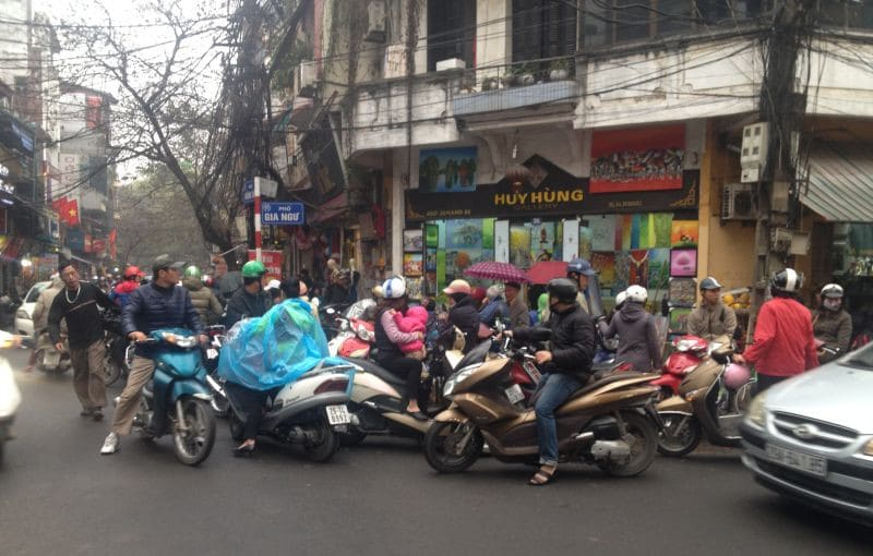 Chaotic traffic in Hanoi city