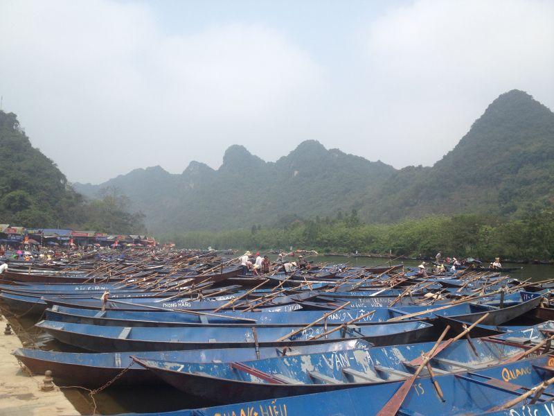 Blue boats at the Perfume Pagoda