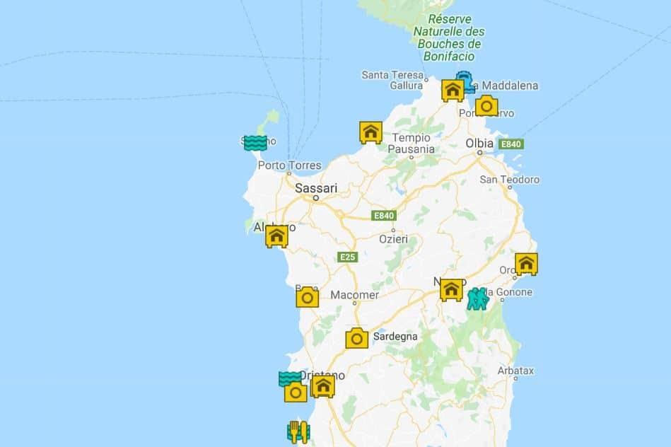 Sardinia road trip map