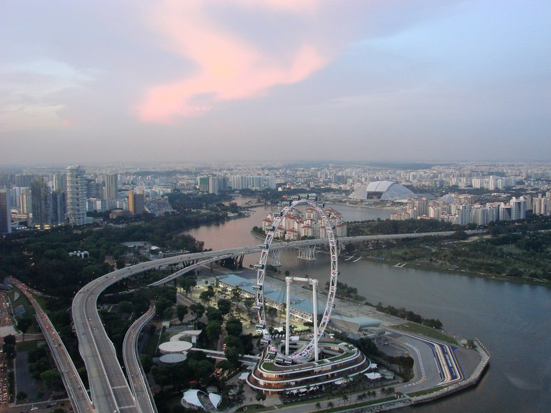 Singapore flyer seen from Marina Bay Sands observation deck