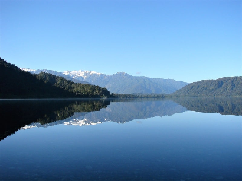 Reflections in Lake Mahinapua, New Zealand