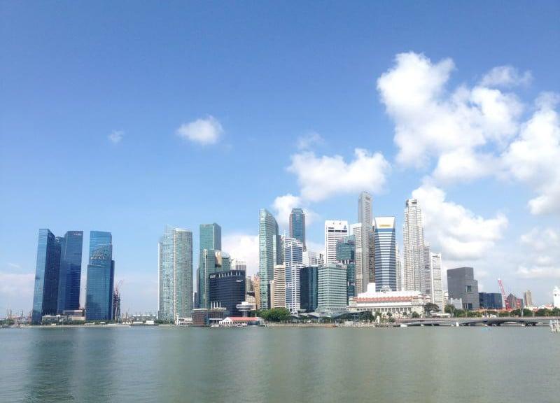 Admiring Singapore's world famous skyline.