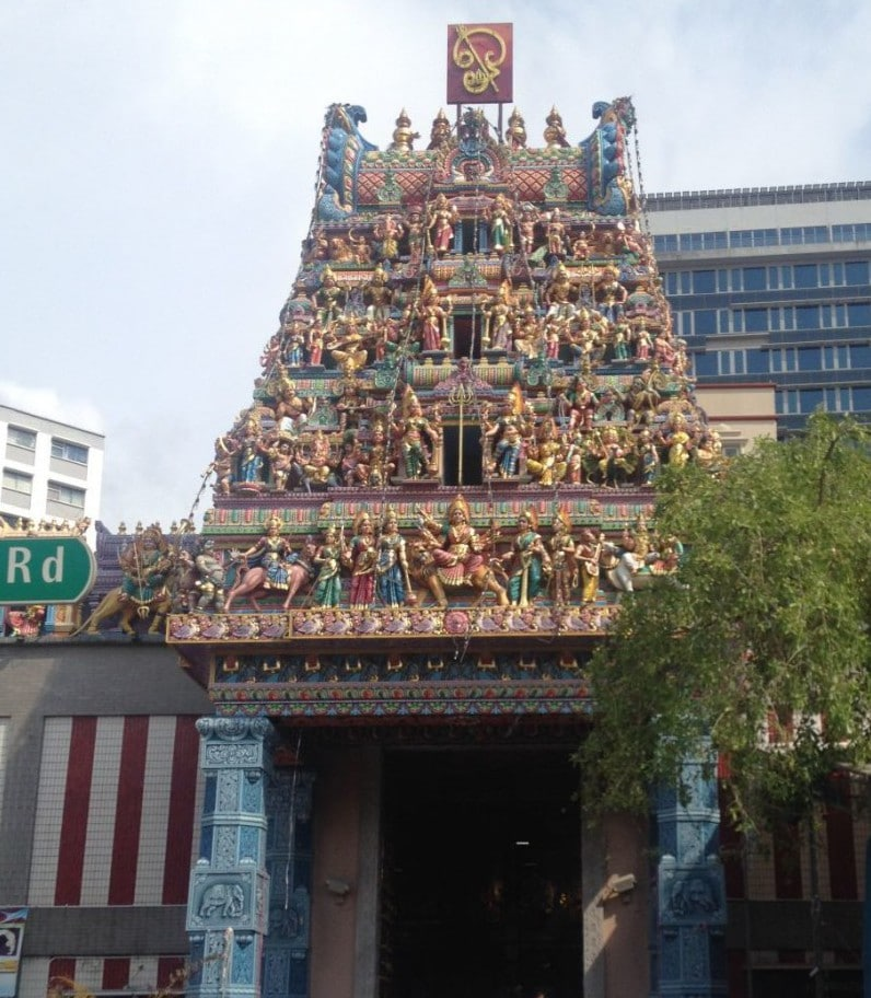 Another colorful building: the Sri Veeramakaliamman Temple.