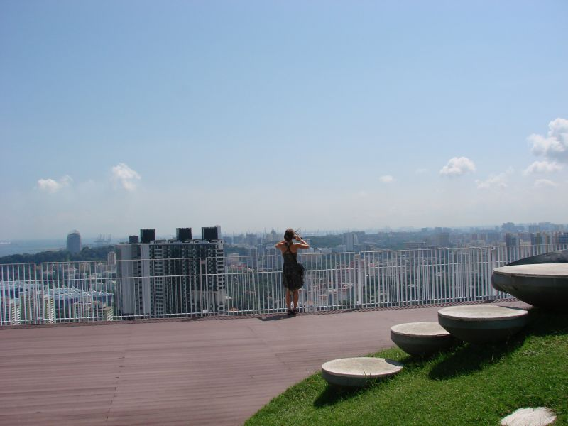 View from Pinnacle @ Duxton: a residential building with the world's longest sky garden (500 meters) on the 50th floor.