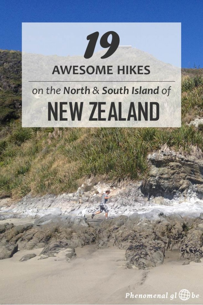 New Zealand is hikers paradise with countless amazing hikes and tracks! Check out these 19 great short hikes: 5 on the North Island and 14 on the South Island. #NewZealand #NorthIsland #SouthIsland #Hiking
