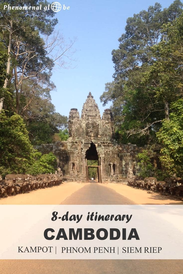 An 8 day itinerary for Kampot, Phnom Penh and Siem Riep in Cambodia. Information how to get from A to B and downloadable map with highlights and route. #Cambodia #itinerary #AngkorWat