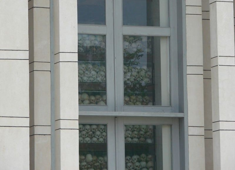 The skulls of people killed at Choeung Ek...