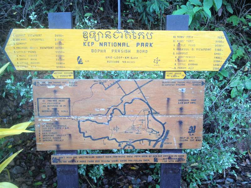 Hiking map Kep National Park Kampot Cambodia