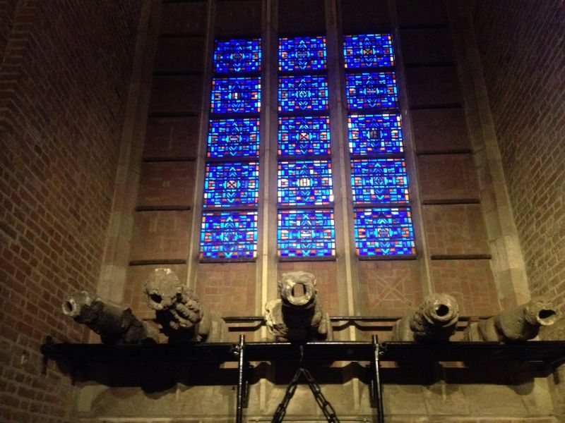 Stained glass and gargoyles at Egmonds Chapel.