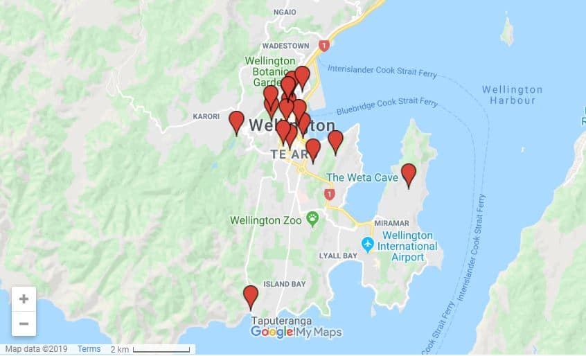 Wellington itinerary map