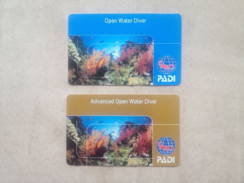 PADI Open Water and PADI Advanced Open Water pass