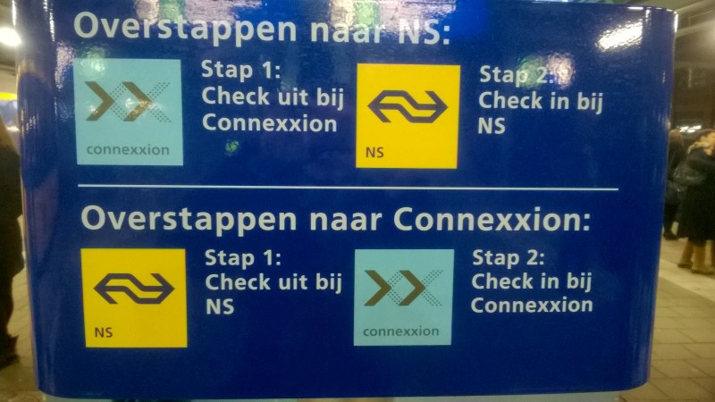 This sign explains transferring from one train company to another.