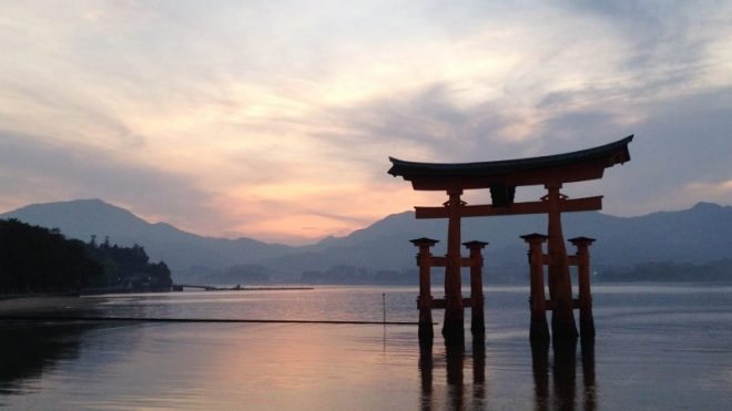 Floating Torii gate Miyajima island Japan