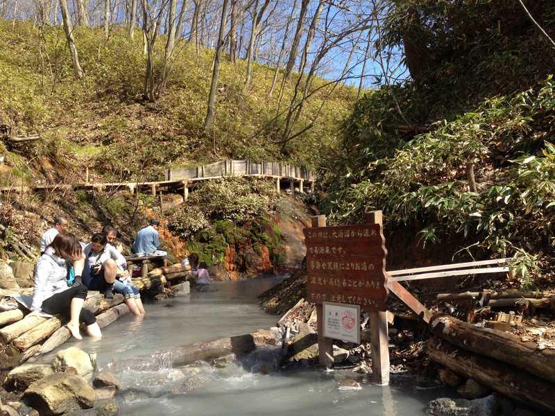 Foot bath in Oyunumagawa Hokkaido Japan