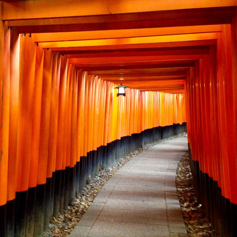 Vermilion torii gates at Fushimi Inari Shrine in Kyoto