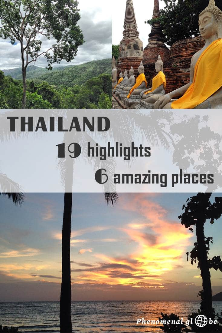 Thailand is a wonderful country, I love how there is both an abundance of culture as well as amazing nature. Add to this a delicious cuisine and welcoming friendly people and it's not surprising Thailand is still one of the most popular countries in Southeast Asia. If you are traveling to Thailand, make sure to visit these 19 highlights in 6 places: Bangkok, Chiang Mai, Sukhothai, Ayutthaya, Kanchanaburi and Koh Samet. Enjoy city, jungle, temples, beaches and more…