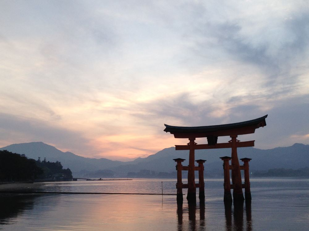 Miyajima island floating Torii gate in the water Japan