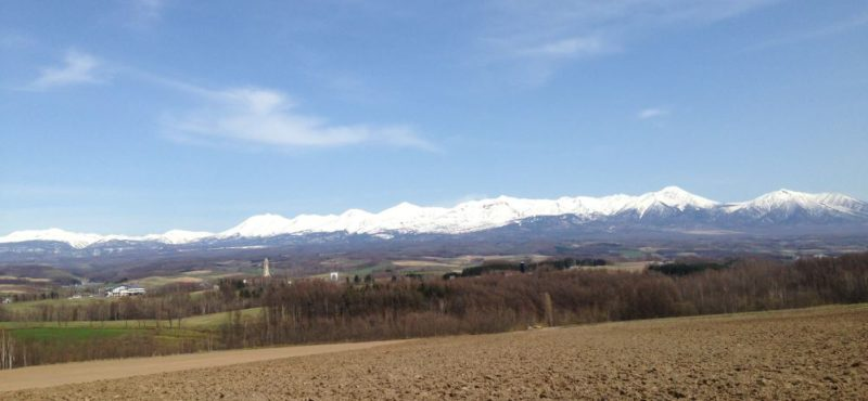 View over Furano village and mountains