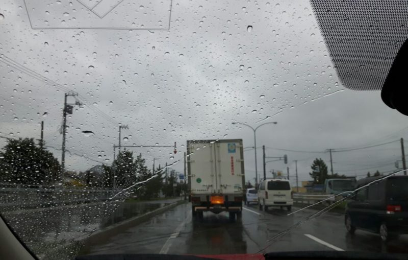 Heavy rain on Hokkaido