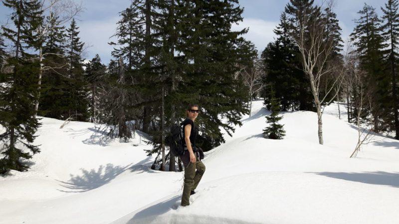 Hiking in snow at Asahidake National Park Hokkaido Japan