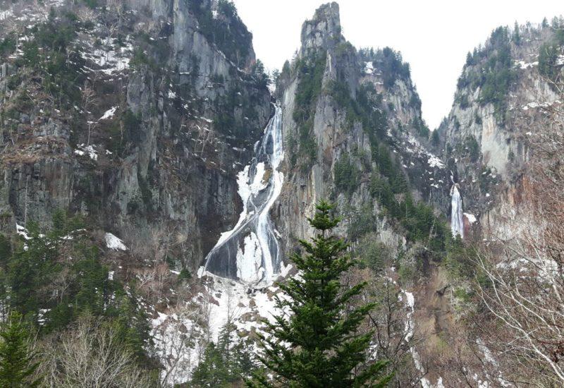 Ryusei-no-taki and Ginga-no-taki waterfalls Hokkaido Japan