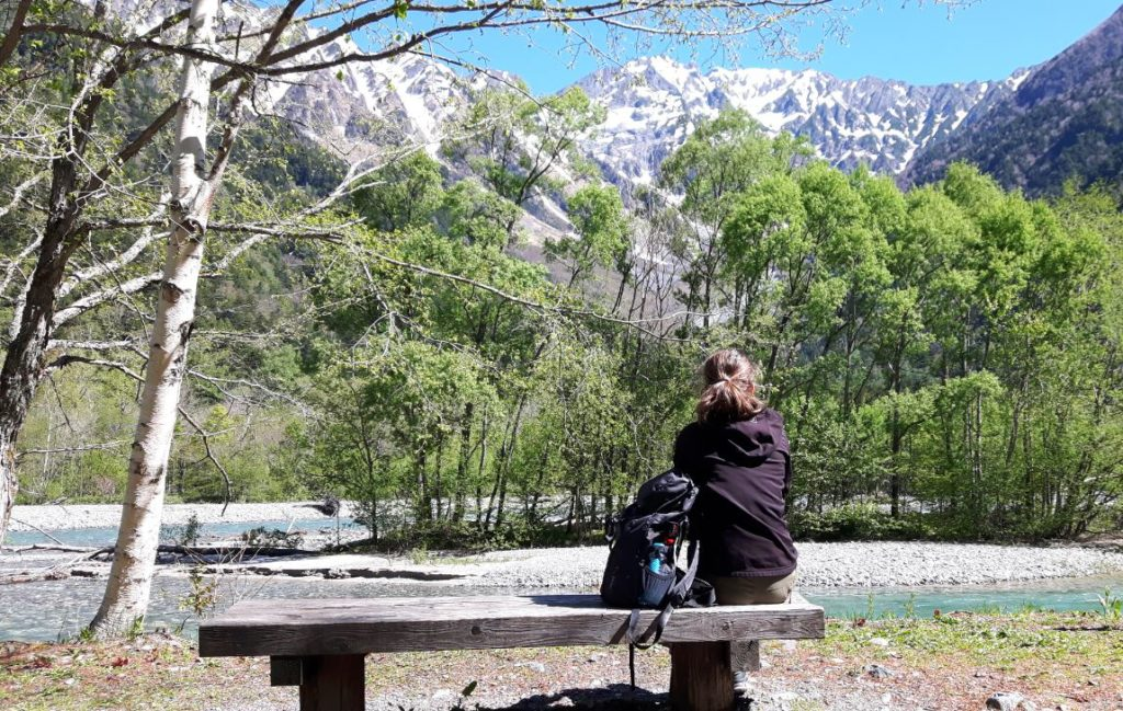 Admiring the view in Kamikochi Japanese Alps