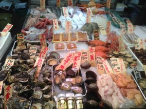 Diverse products at Nishiki market in Kyoto