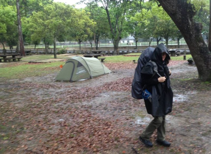 Packing up in the rain at Miyajima island Japan