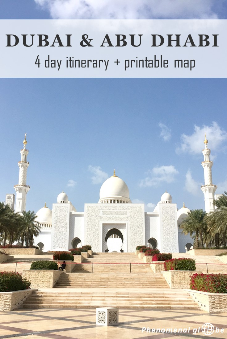 Detailed guide for a first-time visit to Dubai & Abu Dhabi. 4-day itinerary with highlights, accommodation + transport information and a downloadable map.