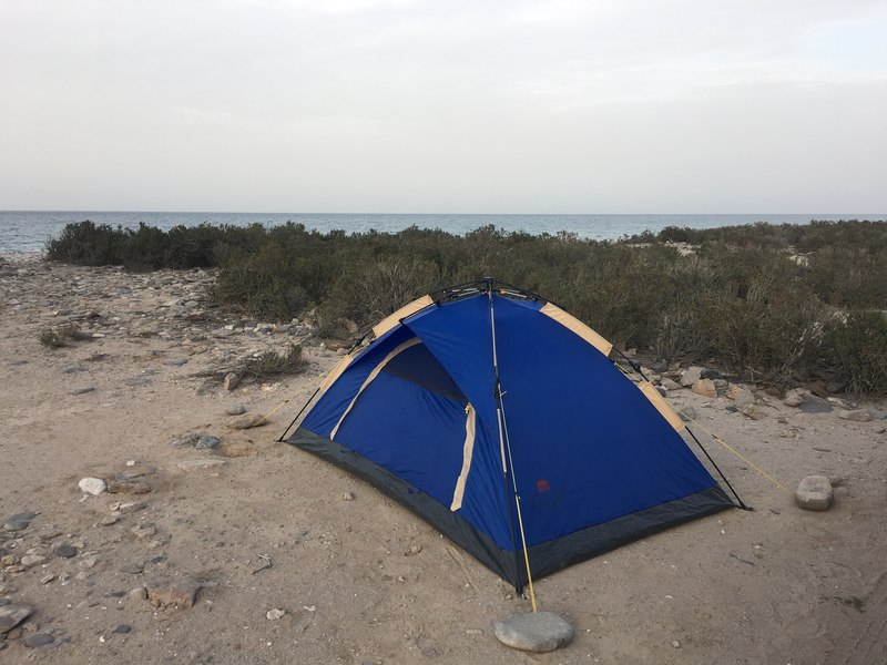 Campsite in As Sifah East Coast Oman close Muscat