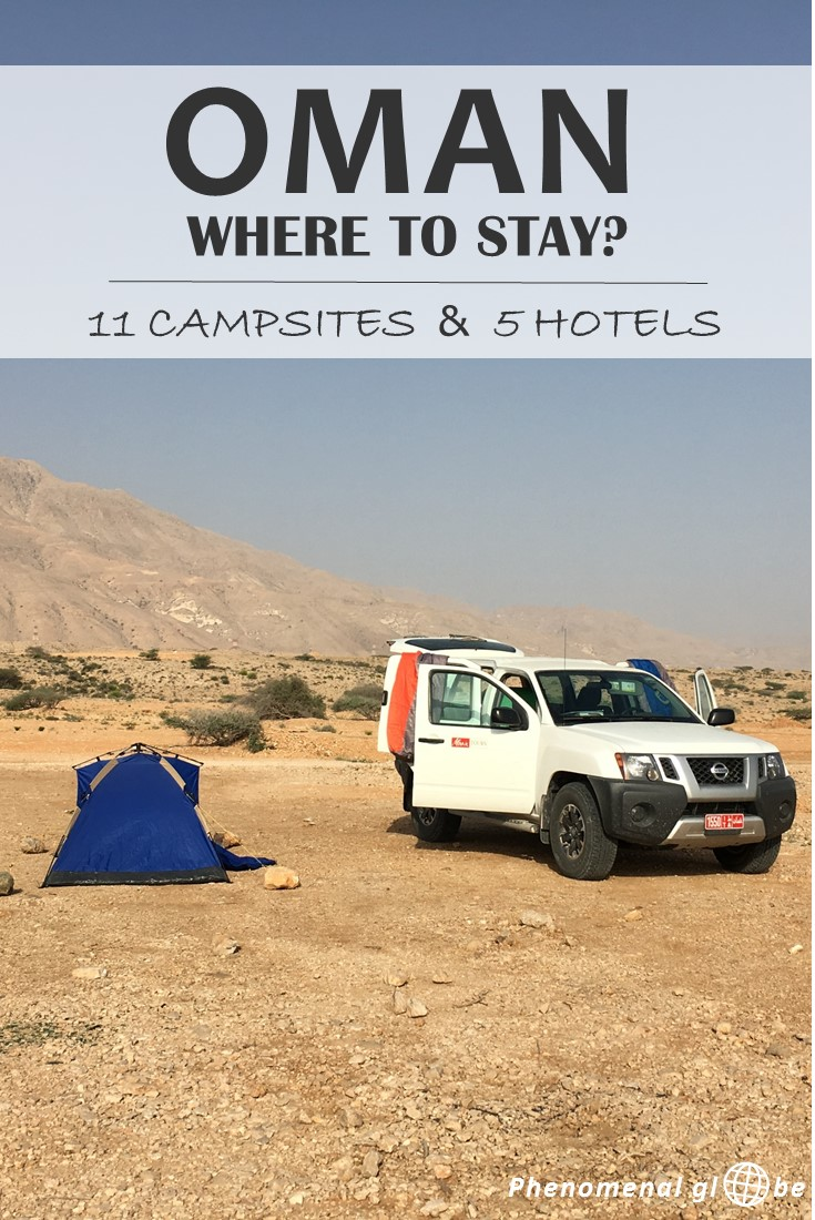 Oman is the perfect country for a road trip and to go camping! Wild camping in Oman is legal and you'll be able to stay at deserted beaches, in the mountains and sleep in the desert. Check out 11 great campsites (wild camping) and 5 amazing hotels (for when you need to freshen up).
