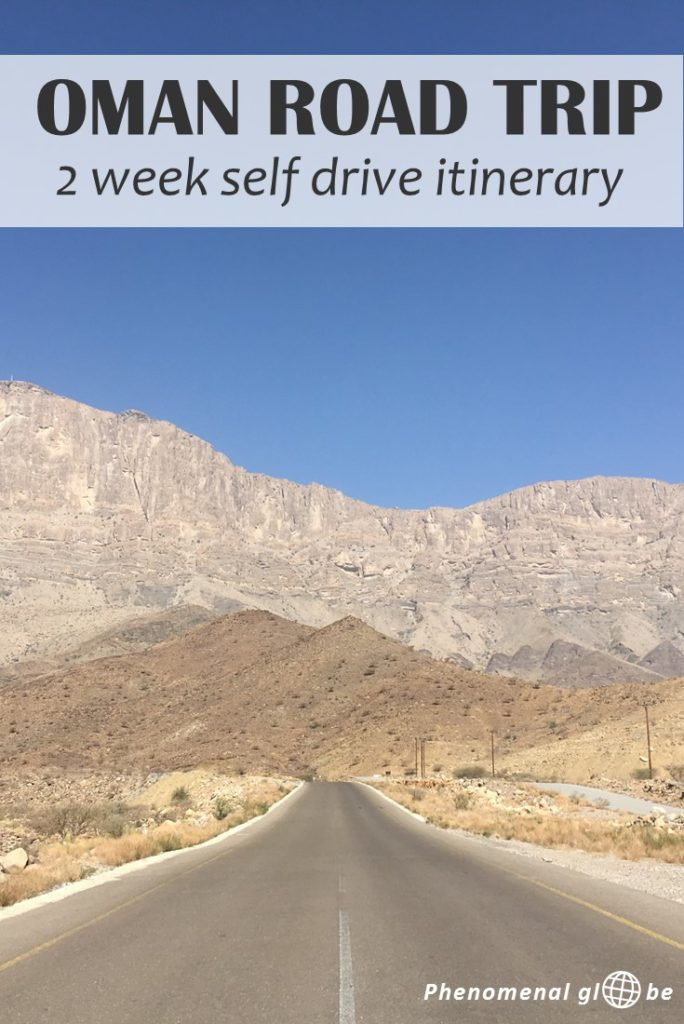 Check out this awesome 2 week self-drive road trip itinerary for Oman, including map with campsites and highlights (Jebel Shams, Wadi Bani Khalid, Sharqiya Sands and more)! #Oman #MiddleEast #roadtrip