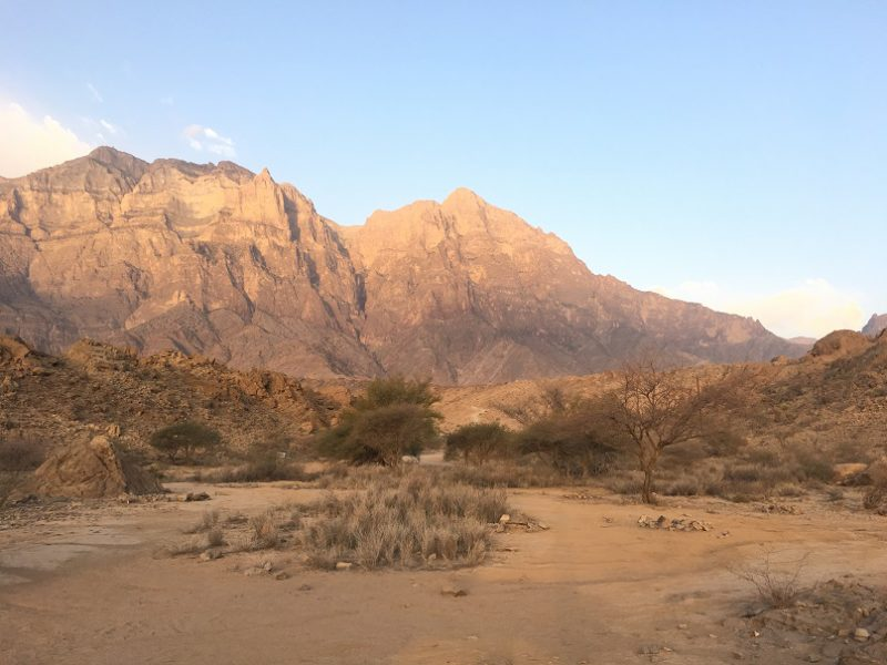 Wadi Sahtan Oman beautiful road and campsite