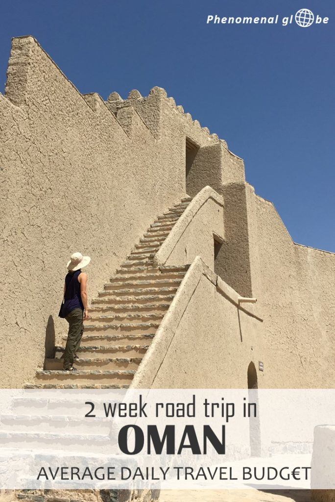 How to travel Oman on a budget: detailed breakdown of the average daily travel budget for a 2-week road trip (accommodation, transport, food, visa) + budget saving tips! #Oman #MiddleEast #RoadTrip