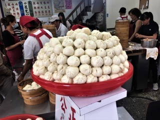 Large basket of baozi in Hualien