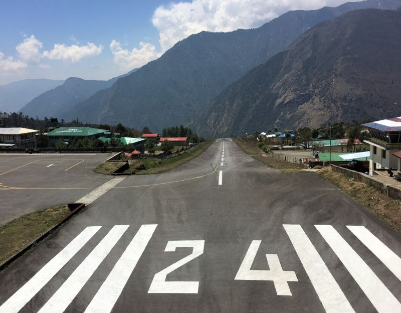 Hiking the Jiri to EBC trail - airstrip at Lukla airport flight to Kathmandu