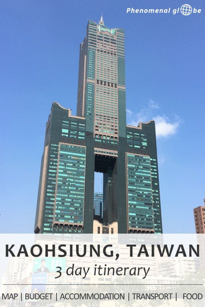 3-day itinerary for Kaohsiung, the second biggest city of Taiwan: budget information, Kaohsiung highlights plotted on a map so it's easy for you to find them, a great Airbnb accommodation, how to get from Kaohsiung airport to the city center, how to rent a bike in Kaohsiung and where to find delicious food. Complete guide to plan the perfect Kaohsiung trip! #Kaohsiung #Taiwan