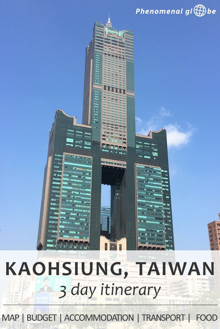 3-day itinerary for Kaohsiung, the second biggest city of Taiwan: budget information, Kaohsiung highlights plotted on a map so it's easy for you to find them, a great Airbnb accommodation, how to get from Kaohsiung airport to the city center, how to rent a bike in Kaohsiung and where to find delicious food. Complete guide to plan the perfect Kaohsiung trip!
