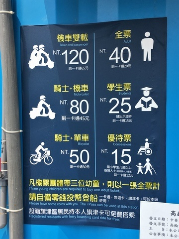 Qian Zhen Ferry Station Kaohsiung schedule ferry how much doest the ferry costs with bicycle