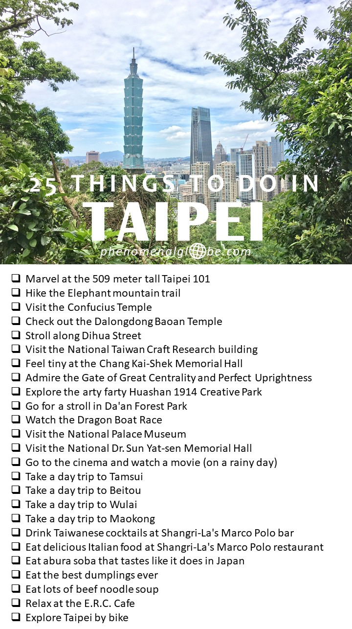 25 things to see and do in Taipei, the capital of Taiwan: budget information, Taipei highlights plotted on a map so it's easy for you to find them, great Airbnb accommodation, how to get around in Taipei city and where to find delicious food. Complete guide to plan the perfect Taipei trip! #Taipei #Taiwan