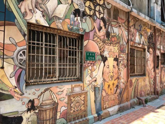 Colorful street art in Tainan