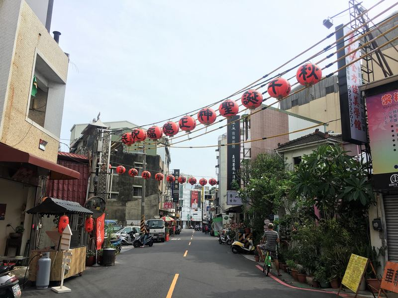 Street with lanterns in Tainan